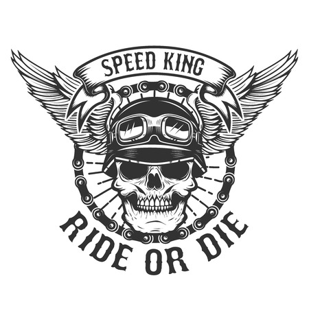 Racer skull with wings and ride or die text vector illustration design for poster, t-shirt, and emblem. Çizim