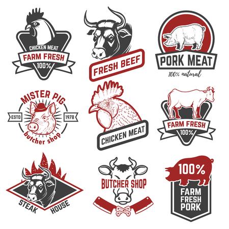 Beef, chicken, pork meat labels on white background. Design elements for logo, emblem, sign, badge. Vector illustration  イラスト・ベクター素材