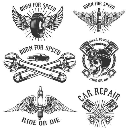car: Set of car repair and racing emblems vector illustration Illustration