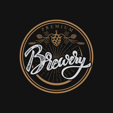 Brewery hand drawn lettering phrase.Handwritten lettering logo, label, badge. Isolated on white background. Vector illustration.