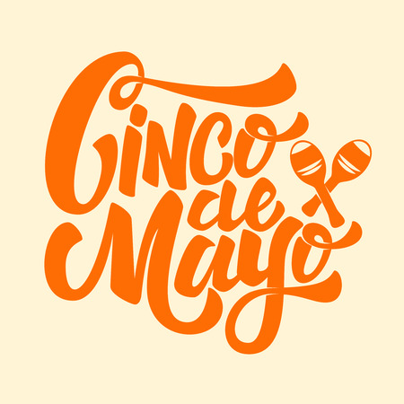 Cinco de Mayo. Hand drawn lettering phrase isolated on white background. Design element for poster, greeting card. Vector illustration Illustration