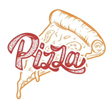 Pizza hand written lettering logo, label, badge. Emblem for fast food restaurant, cafe. Isolated on white background. Vector illustration. Ilustração