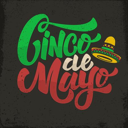 Cinco de Mayo。手拉的字法词组在难看的东西背景中。
