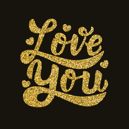 Love You. Hand drawn lettering phrase in golden style. Design element for poster, postcard. Vector illustration