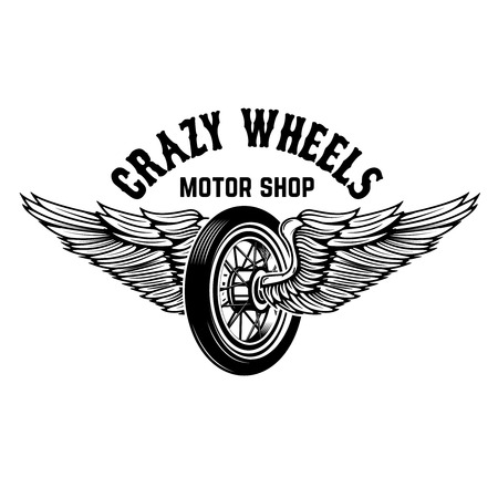 Crazy wheels. Motorcycle wheel with wings isolated on white background. Design elements for logo, label, emblem,sign. Illustration