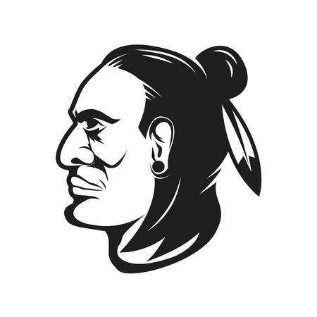 Native american chief head illustration. Design elements for logo, label, emblem,sign. Illustration