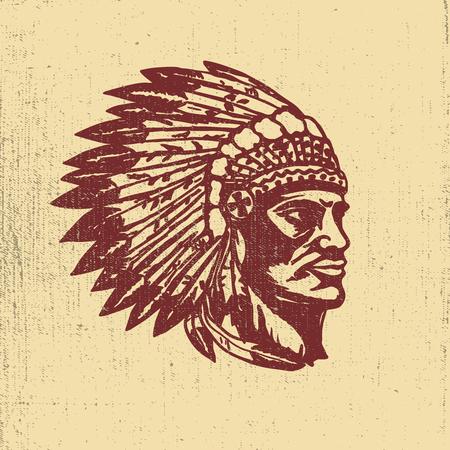 Native american chief head illustration. Design elements for logo, label, emblem,sign. Vector illustration