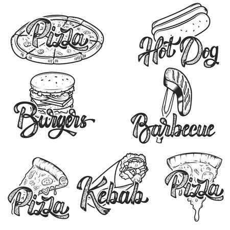 Pizza, Grill, Kebab, Hot Dog, Burger. Satz Hand gezeichnete Schnellimbissembleme. Standard-Bild - 75492861