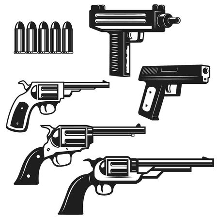 拳銃と拳銃は、白い背景で隔離のセットです。ロゴ、ラベル、紋章、記号の要素をデザインします。ベクトル図