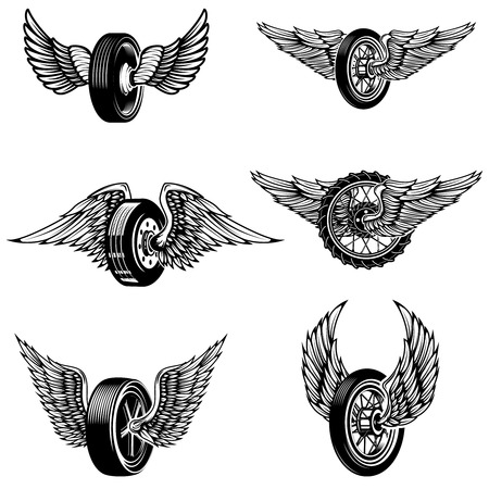 Set of winged car tires on white background. Design elements for logo, label, emblem, sign.Vector illustration