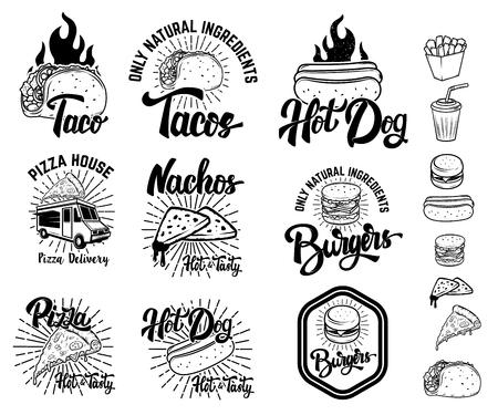 ファーストフードのエンブレムのセットです。タコス、ホットドッグ、ナチョス、ハンバーガー、ピザ。ロゴ、ラベル、エンブレム、サイン、メニ