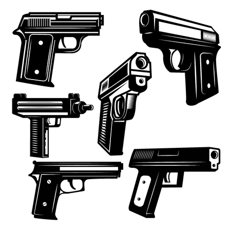 Set of handguns isolated on white background. Design element for logo, label, emblem, sign. Vector illustration.