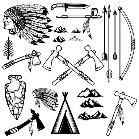 ネイティブ アメリカンの武器のセット。山のアイコン。ロゴ、ラベル、エンブレム、サイン、ポスターのデザイン要素です。ベクトル図