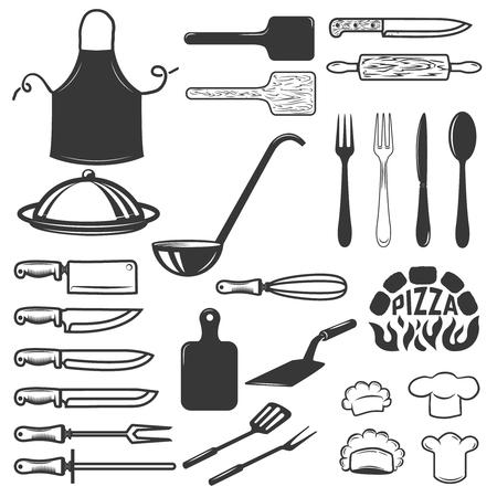 白い背景で隔離のキッチン ツールのセットです。ロゴ、ラベル、紋章、記号の要素をデザインします。ベクトル図  イラスト・ベクター素材