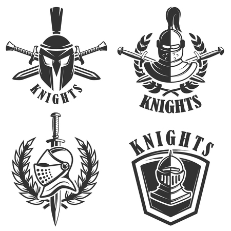 Set of the emblems with knights helmets and swords. Design elements for logo, label, badge, sign. Vector illustration 向量圖像