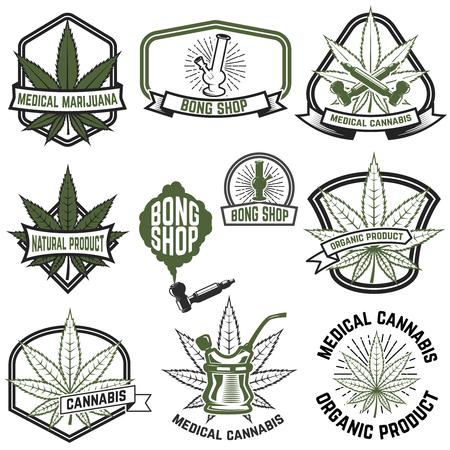 Set of medical marijuana labels. Cannabis. Design elements for logo, label, emblem, sign. Vector illustration
