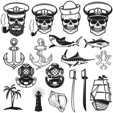 Set of nautical elements. Anchor, fish, shark, ship, octopus. Sailors skulls. Images for logo, label, emblem, sign, poster. Vector illustration.