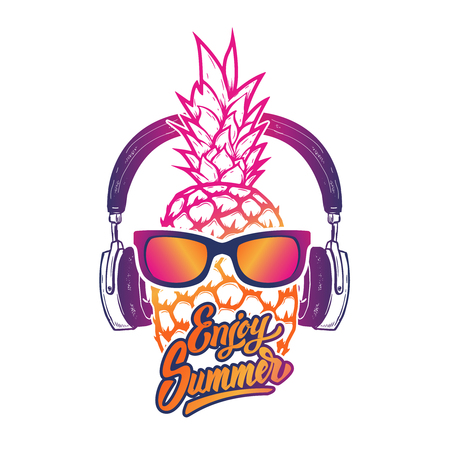 Enjoy summer. Pineapple with sunglases and headphones. Summer consept. Vector illustration. Illustration