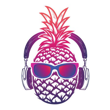 Ananas met sunglases en koptelefoons. Zomerconsept. Vector illustratie.