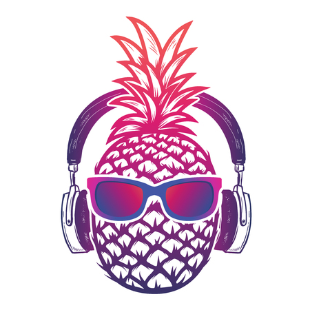 Pineapple with sunglases and headphones. Summer consept. Vector illustration. Фото со стока - 76546779