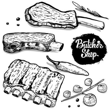 Carnicería. Conjunto de costillas de carne de vacuno a mano con especias. Elementos de diseño para el cartel, menú, volante. Ilustración del vector Ilustración de vector