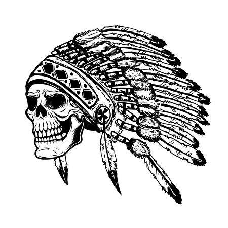 Skull in native american indian chief headdress. Design element for poster, t-shirt. Vector illustration. Иллюстрация