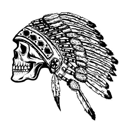 Skull in native american indian chief headdress. Design element for poster, t-shirt. Vector illustration. Illustration