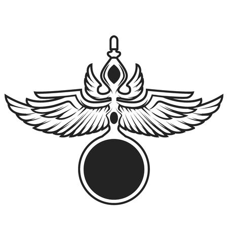 Winged spiritually sign template. Design element for emblem, badge. Vector illustration Imagens - 76546834