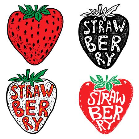 Hand drawn fresh strawberry labels isolated on white background. Design element for logo, label, emblem, sign. Vector illustration.