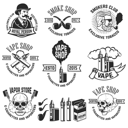 Set of vape shop emblem templates. Smoke shop. Design elements for logo, label, badge, sign. Vector illustration Çizim