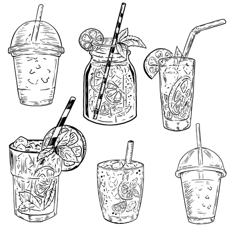 Set of hand drawn cocktails illustrations. Design elements for poster, menu, flyer. Vector illustrations