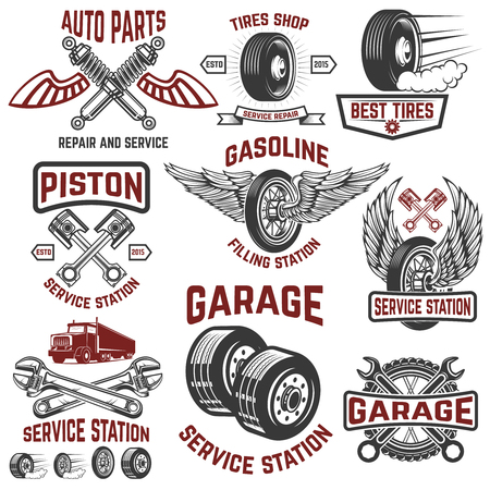 Garage, service station, tires shop, auto parts store. Design elements for logo, label, emblem, sign, poster, t-shirt. Vector illustration