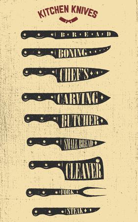 手描きのキッチン ナイフのイラストのセットです。ポスター、メニューのチラシのデザイン要素です。ベクトル イラスト