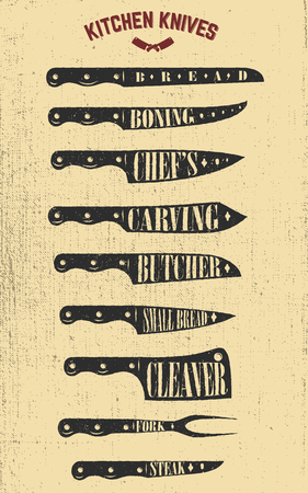 Set of hand drawn kitchen knives illustrations. Design elements for poster, menu, flyer. Vector illustrations