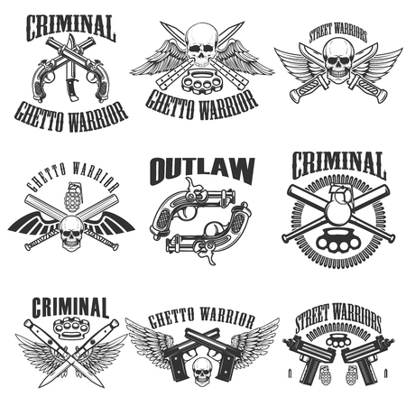 Set of outlaw, criminal, street warrior emblems. Skulls with wings, guns and swords. Design elements for logo, label, emblem, sign, poster, t-shirt. Vector illustration Illustration