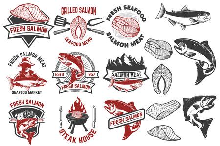 Salmon meat labels and badges. Seafood grill. Fish steak. Design elements for label, emblem, sign. Vector illustration Illustration