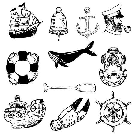 Set of hand drawn nautical vector elements. Design elements for poster, emblem,t-shirt