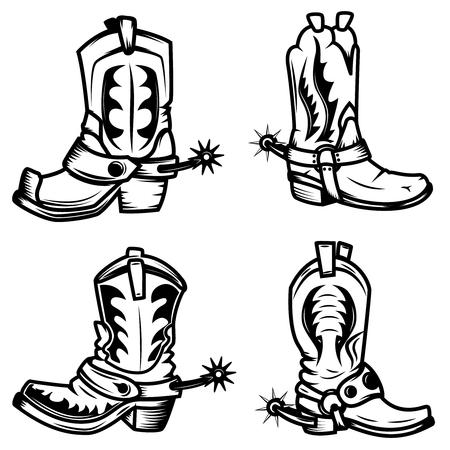 Set of the cowboy boots illustrations. Design elements for logo, label, emblem, sign, badge. Vector illustration Ilustracja