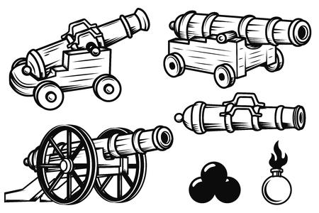 Conjunto de antiguos cañones ilustraciones. Elementos de diseño para logotipo, etiqueta, emblema, signo, insignia. Ilustración del vector Logos