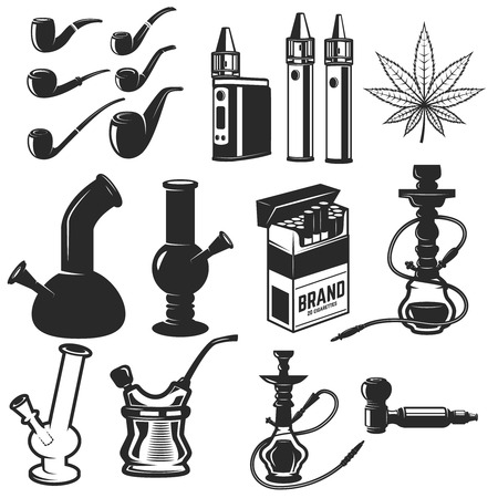 Set of smoking equipment. Bongs, vapes, smoking pipes, Hookah. Design elements for label, emblem, sign. Vector illustration