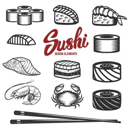 Set of sushi icons on white background seafood japanese traditional food. Design elements for menu, poster, flyer.
