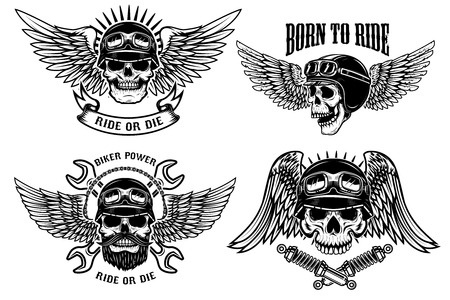 Born to ride. Set of biker skulls with wings and helmets on white background. Design elements for logo, label, emblem, sign, poster, t-shirt. Vector illustration