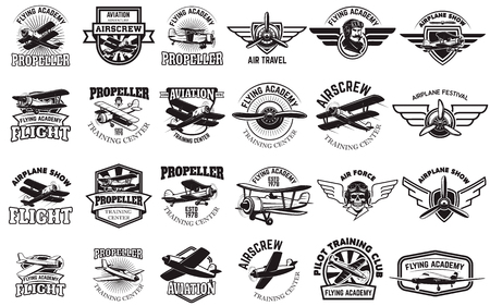 Set of airplane training center emblems. Design elements for logo, label, emblem, sign. Vector illustration.  イラスト・ベクター素材
