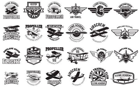 Set of airplane training center emblems. Design elements for logo, label, emblem, sign. Vector illustration. Vettoriali