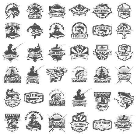 釣りアイコンの大きなセット。鯉釣り、マス釣り、バス釣り, パイク釣り。ロゴ、ラベル、紋章、記号の要素をデザインします。ベクトルの図。