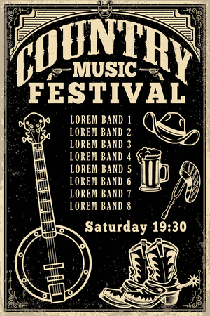 Country music festival poster template. Cowboy hat, cowboy boots, banjo. Vector illustration Çizim