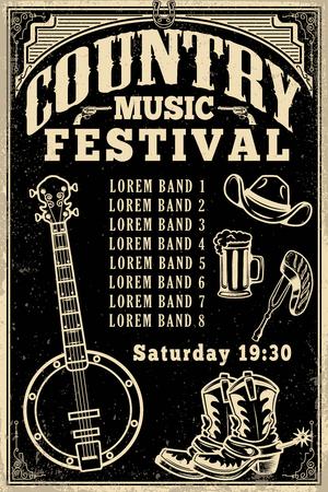 Country muziek festival poster sjabloon. Cowboyhoed, cowboylaarzen, banjo. Vector illustratie