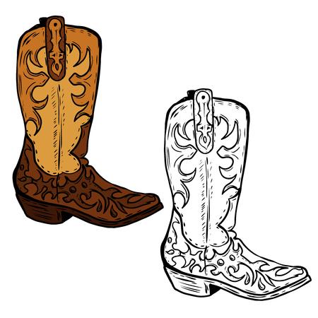 Illustrazione disegnata a mano degli stivali di cowboy. Elemento di design per poster, flyer. Illustrazione vettoriale