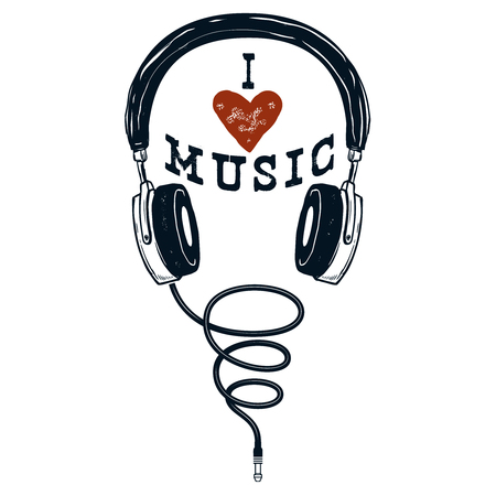 I love music. Hand drawn headphones. Design elements for poster, t-shirt. Vector illustration. Illustration