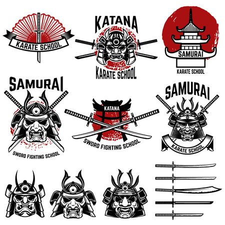 Karate school labels. Samurai swords, samurai masks. Japanese culture. Design element for logo, label, sign. Vector illustration Çizim